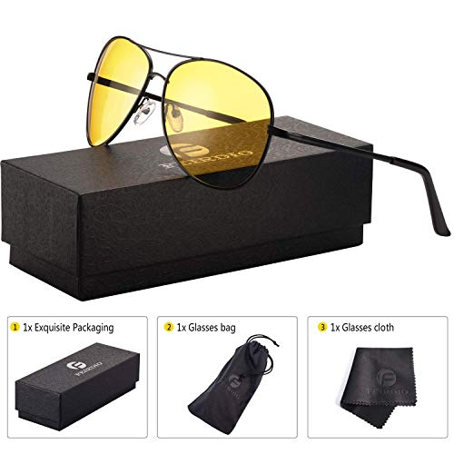 (Night Vision Glasses for Driving - Feirdio HD night driving glasses anti glare polarized mens women glasses (black yellow))