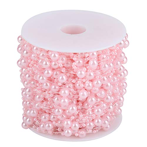 Akozon Pearl Wire Beads 60m/roll Grinding Pearl Wire Beads Garland String DIY Wedding Decoration 3mm+8mm(Pink)