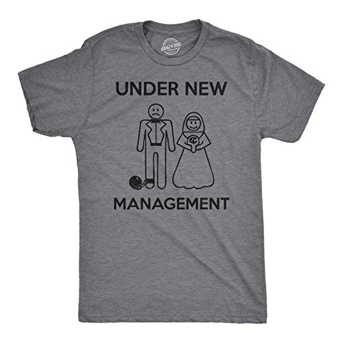 (Mens Under New Management Funny Wedding Bachelor Party Novelty Tee for Guys (Grey) -)