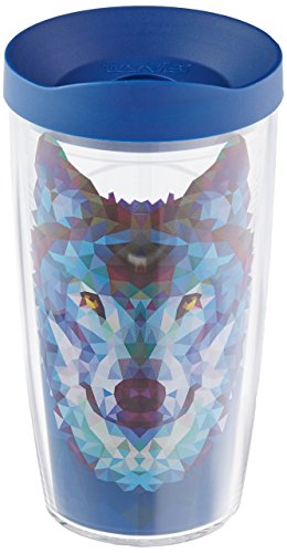 Tervis 1222794 Wolf Trend Tumbler with Wrap and Blue Lid 16oz, Clear (Wolf Tumbler Tervis)