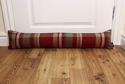 "McAlister Textiles Window Draft Stopper and Door Cloth Seal 36"" Stops Unfriendly Drafts and Wind Noises, UNFILLED Heritage Plush Plaid Cloth Door Draft for a Rustic Farmhouse Decor Accent, Red ()"