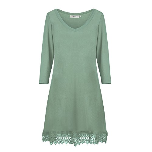 Dreaweet Women's Long Sleeve V-Neck A-line Floral Lace Loose Casual Dress (Cheap Fancy Dress Outfits)