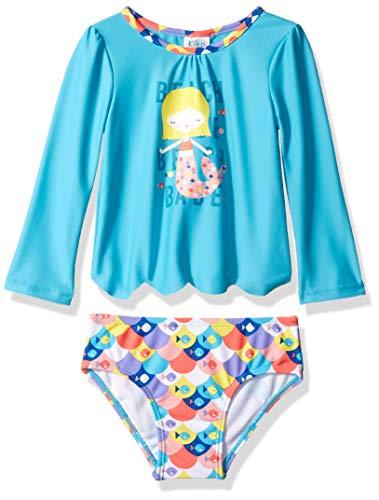 8842afa834 Kiko & Max Baby Girls Suit Set with Long Sleeve Rashguard Swim Shirt,  Turquoise Multi Mermaid, 18 Months