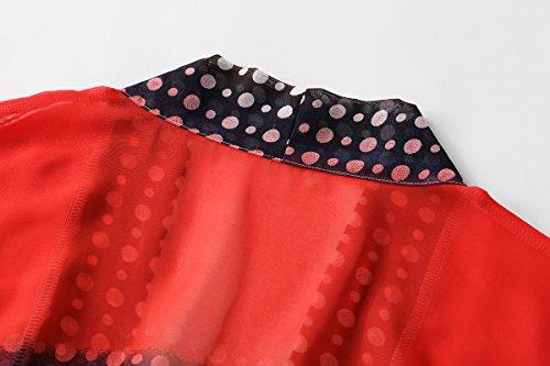WEIYAN Women's Summer Tops Loose Chiffon Kimono Cardigan Blouse (Big Flower, M) by WEIYAN (Image #5)