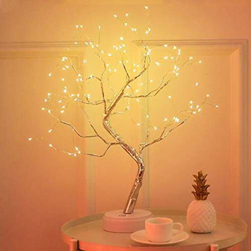 XIYUNTE Tree Lights Bedside & Table Lamps with Touch Button - 108 Lights Beads LED Fairy Light Children's Room Décor, Battery & USB Powered Night Light Tree Lamp for Kids -