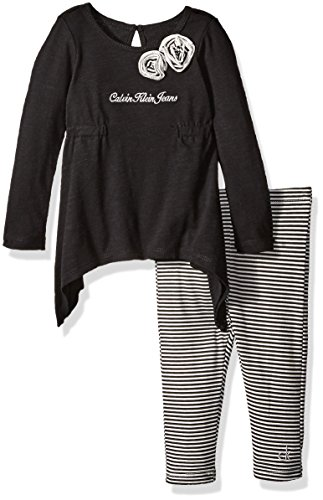 Calvin Klein Baby Slub Jersey Tunic with Leggings Set, Black, 24 Months by Calvin Klein
