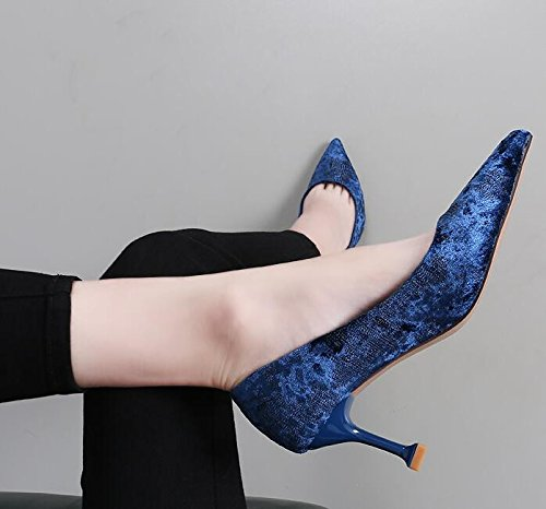 7Cm Shoes Light Simple Shoes Versatile Nozzle Shoes Fashion Fine And High Tip Xi Single Heeled Woman blue Shi Velvet With KPHY P1qA0H6