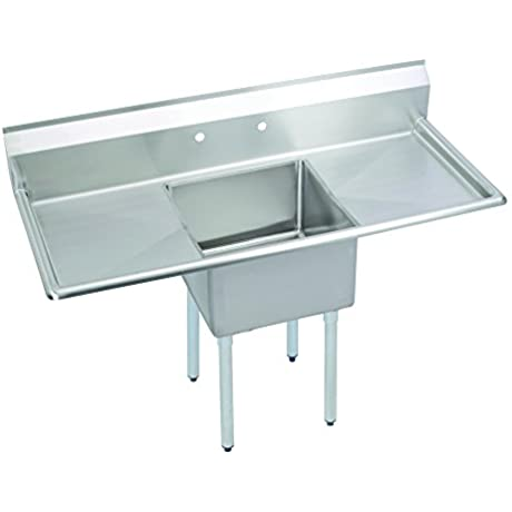 Fenix Sol One Compartment Stainless Steel Sink Bowl 18 L X 18 W X 12 D Overall Size 54 L X 23 5 W X 43 75 H 2 X 18 Drainboards Galv Legs