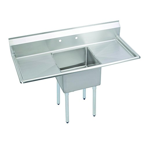 Fenix Sol One Compartment Stainless Steel Sink, Bowl: 16''L x 20''W x 12''D, Overall Size: 52''L x 25.5''W x 43.75''H, 2 x 18'' Drainboards, Galv Legs by Fausett International