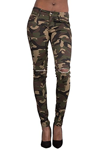 Taiduosheng Women Army Military Camouflage Trouser Soft Pants Knee-Cut Leggings L