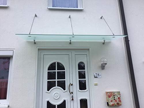 Gr/ö/ße:200 x 90 cm Glasart:Grauglas Haust/ür/überdachung Sicherheitsglas Eingangsbereich Glasvordach Zugstreben 90 cm Tiefe