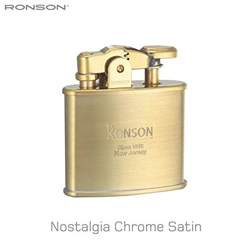 Ronson Nostalgia Standard Satin Brass Soft Flame Petrol Lighter New Gift Boxed