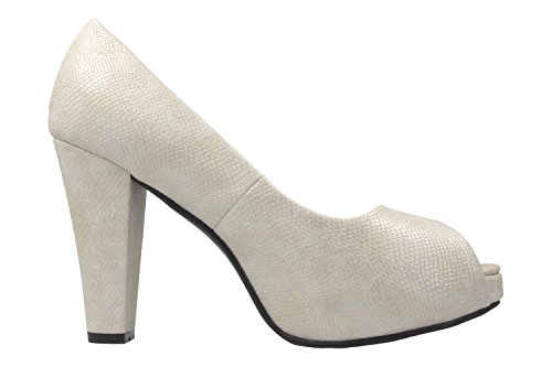 Andres Machado - Zapatos de vestir de Material Sintético para mujer plateado y blanco