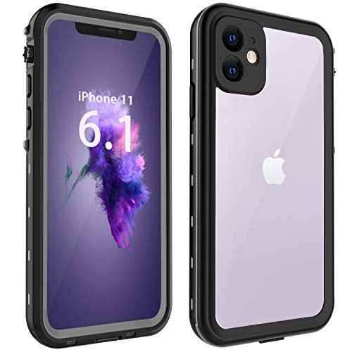 Compatible with iPhone 11 case, Waterproof Case Clear Black Full Body Rugged Cover Case with Built-in Screen Protector Shockproof Anti-Scratch Outdoor Dual Layer Case for iPhone 11 (6.1 Inch, 2019)