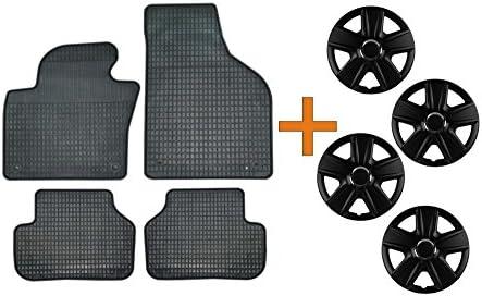 Set de alfombrillas de goma + Tapacubos Esprit Negro 15 para Renault