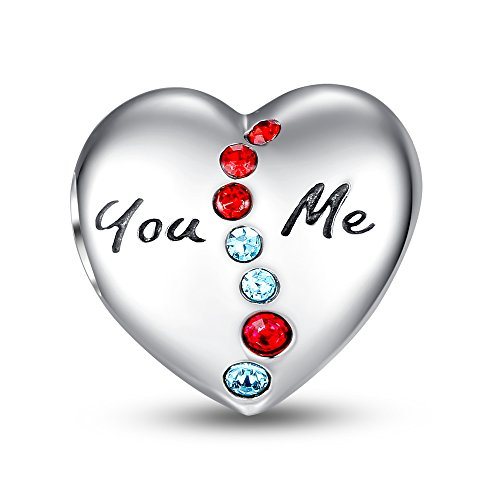 925 Silver Many Lines (Glamulet Art - You and Me 10Th Anniversary Heart Love Charm -- 925 Sterling Silver -- Fits Pandora)