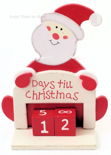 Days Til Until Christmas Advent Xmas Wooden Santa Countdown ...