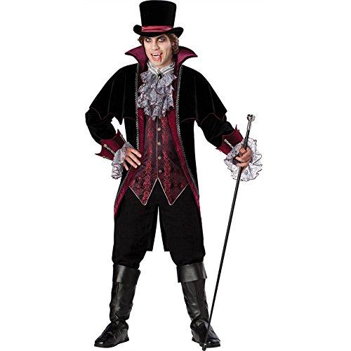 70's Costume Makeup (InCharacter Costumes Men's Vampire Of Versailles Costume, Black/Burgundy, Medium)