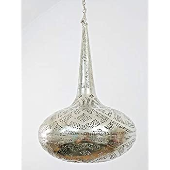 BR419 Tin Moroccan Filingrain Mosaic Silver Lampshade Hanging Lamp