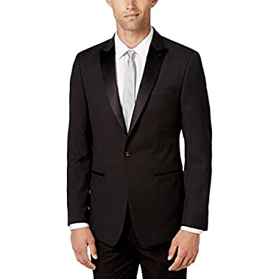 Calvin Klein Mens Slim Fit Houndstooth One-Button Suit Jacket