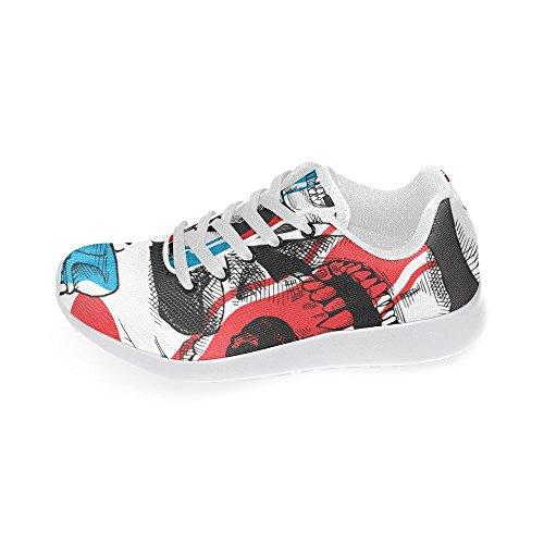 Interestprint Cranio Rosa Sport Scarpe Da Corsa Per Donna Un Teschio Da Corsa
