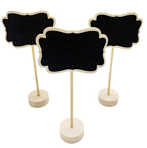 12 PACK Mini Chalkboards Stands for Message Board Signs Small Chalkboard Signs for Food Wedding Table Numbers Party Name Place Card Decorative Chalkboards Set Wet Towel Wip Off (Black-B) by T-shin (Image #7)