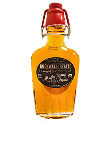 Rockwell Estate Maple Syrup - ORGANIC Premium Grade A - Amber Maple Syrup, 100% Pure, Natural, Kosher (Organic - Pure, 8.5oz)