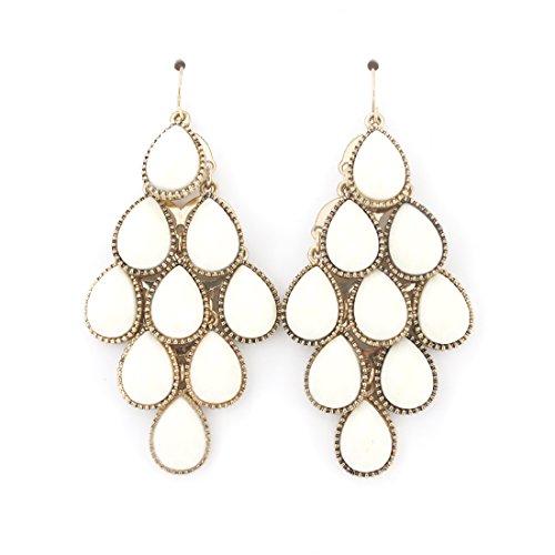 Elegant Gold-tone White Beads Chandelier Dangle Drop Earrings