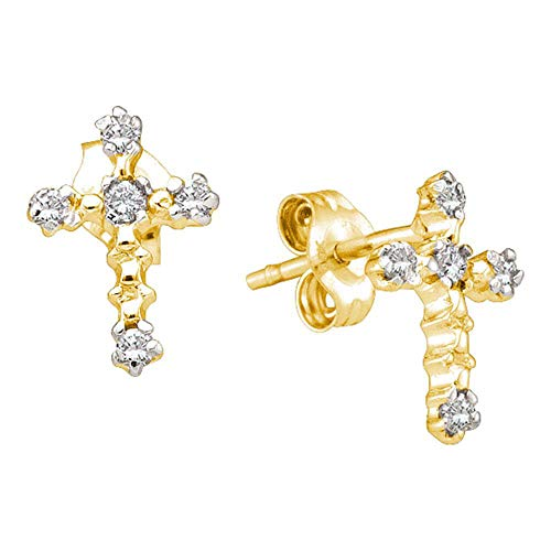 - FB Jewels 10kt Yellow Gold Womens Round Diamond Cross Religious Earrings 1/20 Cttw (I2-I3 clarity; J-K color)