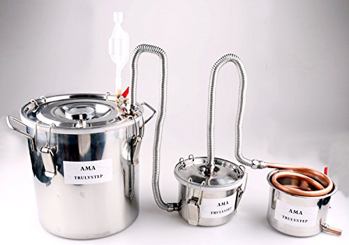 New 3 Pots DIY Home Distiller Alcohol Moonshine Ethanol Still Spirits Boiler Wine Water Essential Oils Making Brewing Kit (Copper, 20 Litres / 5 Gallon)