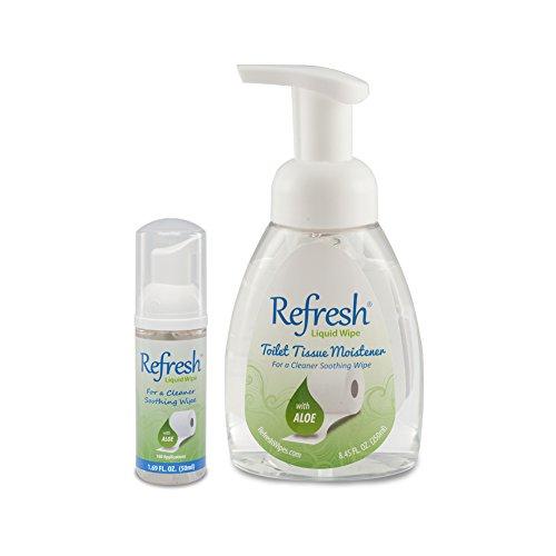 Refresh Liquid Wipe - Toilet Tissue Moistener Foam 1 - 250ml 1 - 50ml (Combo Pack). Works on any Toilet Tissue for a Custom Wipe! (Toilet Paper Foam)