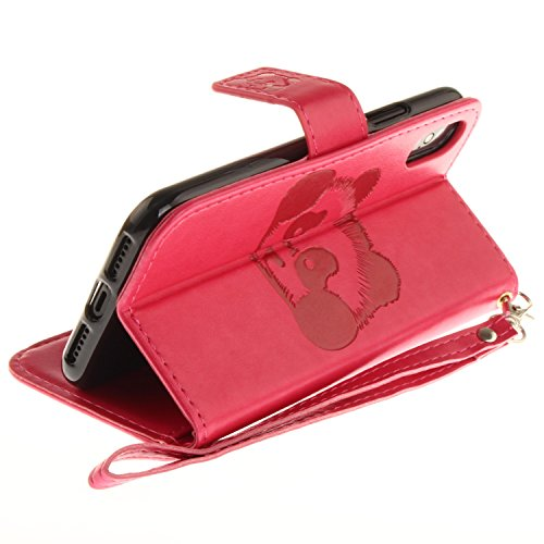 iPhone X Hülle Leder Panda-Prägung, Lomogo Schutzhülle Brieftasche mit Kartenfach Klappbar Magnetverschluss Stoßfest Kratzfest Handyhülle Case für Apple iPhone X - TOXI27513 Violett Rosa Rot
