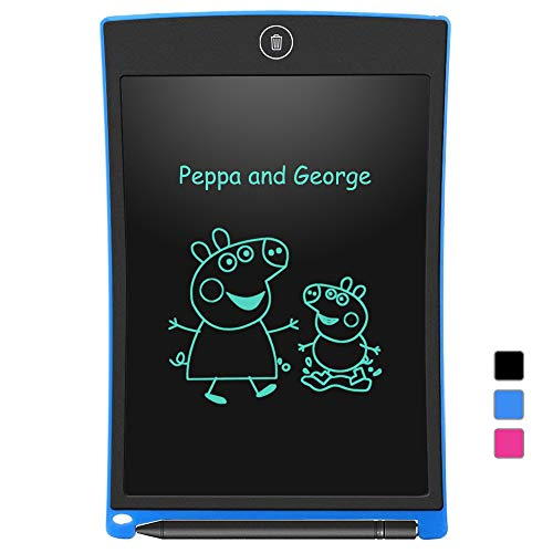 LCD Writing Tablet Electronic Writing Drawing Doodle Board Erasable Aukor 8.5-Inch Handwriting Paper Drawing Tablet for Kids Adults at Home School Office Blue