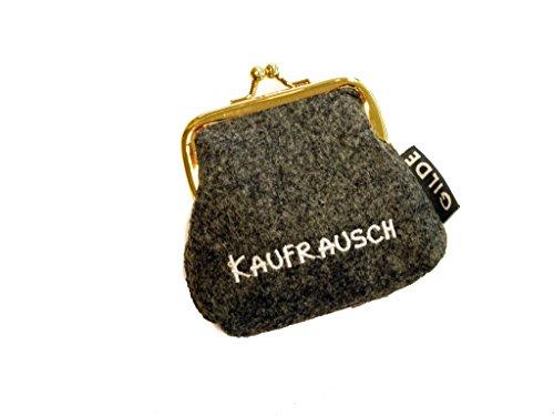 Portamonete / Borsa clic clac in feltro grigio chiaro / scuro con scritta tedesca ricamata - Portamonete scuro Kaufrausch