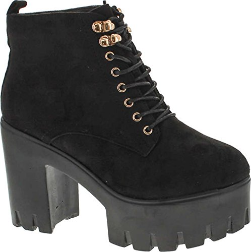 Platform Suede Booties - Soda Women's Climate Faux Leather Lace-up Thick Platform Chunky Heel Lug Ankle Bootie,Black Suede,6.5