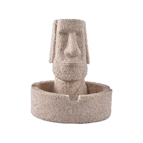Easter Island Statue Ashtray Sandstone Cigarette Holder for Home Decoration Resin Crafts Gifts for Living Room Office Indoor Outdoor Use