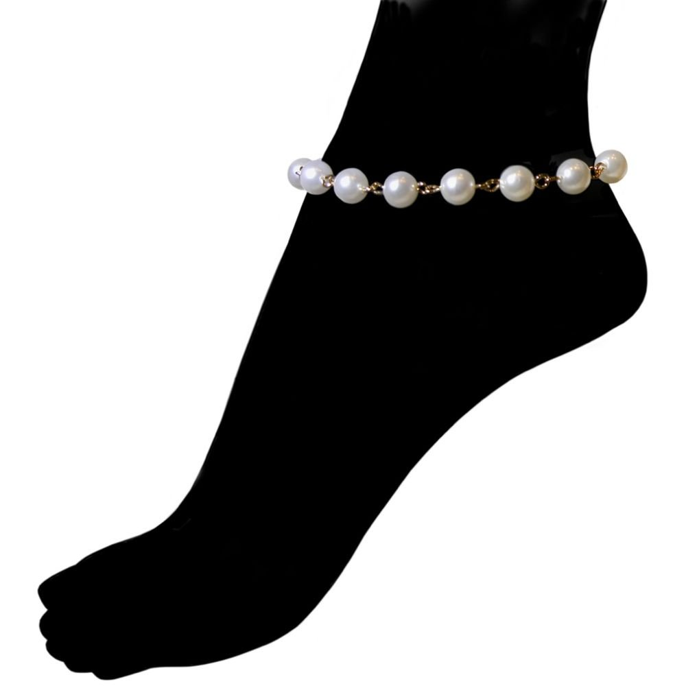 Nickel Free Vintage 8mm Imitation Pearl and Chain Anklet, USA! Ours Alone! 9'' + 1'' Ext., in Imitation Pearl with Gold Tone Finish