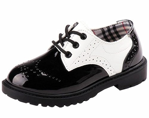 DADAWEN Children's Boy's Girl's Oxford Dress Shoe (Toddler/Little Kid/Big Kid) Black and White US Size 5.5 M Toddler]()