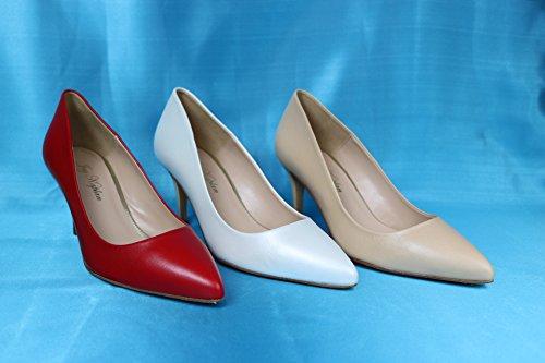 JAY KAPLAN 400 Dollar Womens All Leather Mid Heel Classic Pump Made in Spain, Faith Black