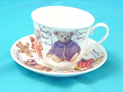 Extra Large Bone China Tea Cup & Saucer or Breakfast Cup- Teddy Bears-made in England (Extra Saucer And Cup Large)
