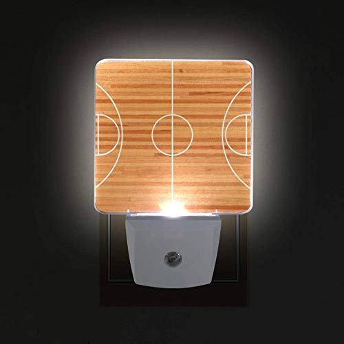xiaodengyeluwd 2 Pack Basketball Court Floor Plan Plug in LED Night Light Auto Sensor Dusk to Dawn Decorative Night for Bedroom, Bathroom, Kitchen, Stairs,Baby's Room, Energy Saving ()