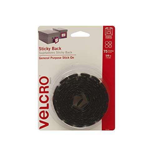 VELCRO Brand - Sticky Back Hook and Loop Fasteners | Perfect for Home or Office | 5/8in Coins | Pack of 75 | Black