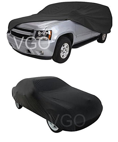Black Car Cover Waterproof Outdoor Sun UV Snow Dust Rain Resistant Protection XXXL Size