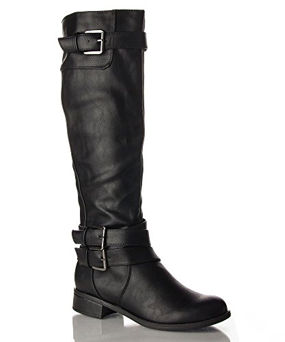 Soda Women's Faux Leather Buckle Knee High Riding Boot
