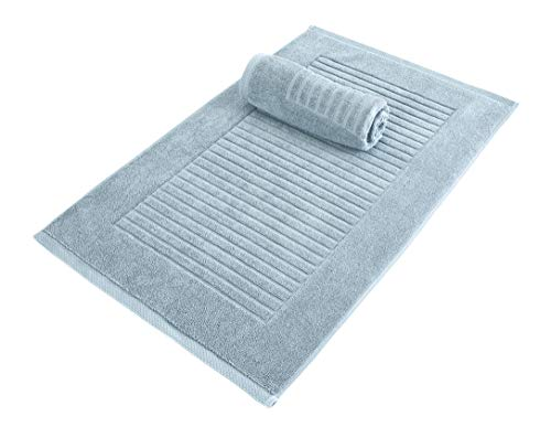 Classic Turkish Towels 2 Piece Luxury 600 GSM Bath Mat Set | Soft Thick Absorbant Bathroom Towel Mat, 100% Turkish Cotton Jacquard Ribbed Style, 20″ x 33″, Spa Blue