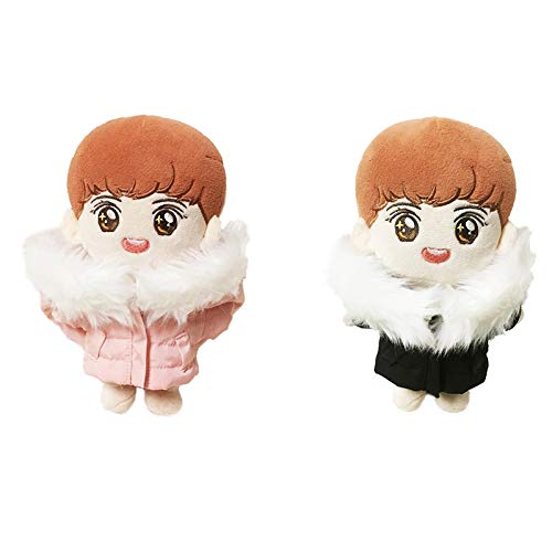 VogueMing Kpop Shinee EXO Nct BTS 15cm 20cm Doll's Clothes Black Pink Down Jacket【no Doll】 (Pink【no Doll】, Suitable for 20cm Dolls)