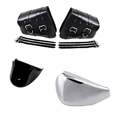 (Set Chrome Left Side Battery Cover and Swing Solo Saddlebags with Front Chin Spoiler Cover Compatible with Harley Sportster Models XL 883 XL1200)