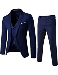 9495da9bed6 Men s Suit Slim Fit One Button 3-Piece Suit Blazer Dress Business Wedding  Party Jacket