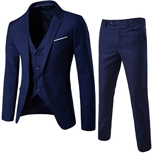 MAGE MALE Men's 3 Pieces Suit Elegant Solid One Button Slim Fit Single Breasted Party Blazer Vest Pants Set, Dark Blue, Medium (Best 3 Piece Suits For Men)