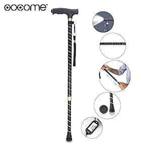 OOCOME ausziehbarer Gehstock Gehhilfe Wanderstock Krückstock LED-Lampe,selbsttragend aus ultra-leichtem Aluminium, mit Knöchel und extra großem ...